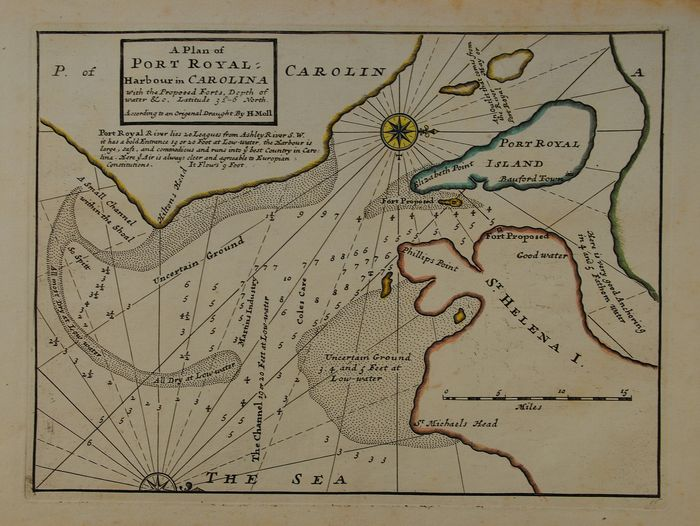 U.S., South Carolina, Port Royal ; H. Moll - A Plan of Port Royal harbour in Carolina with the Proposed Forts, Depths of water &c - 1701-1720