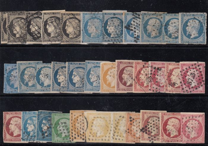 Frankreich - A lovely accumulation of values on 4 boards - Yvert du 3 au 46