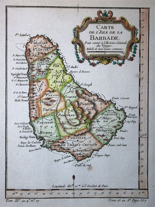 Middle America and Caribbean, Barbados; Bellin  - Carte de l'Isle de la Barbade - 1751-1760
