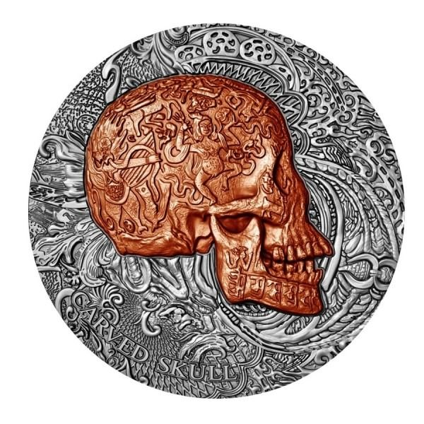 Cameroun - 1000 Francs 2017 Carved Skull High Relief Antique - 1 oz - Argent