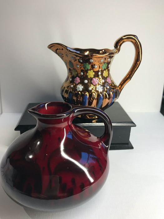Very nicely decorated (Champ levé) gilded jug and jug with ear, (2)