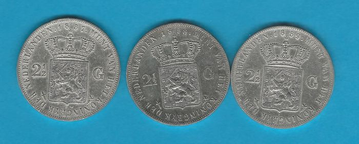 The Netherlands - 2 1/2 Gulden 1857+1858+1859 Willem III - Silver