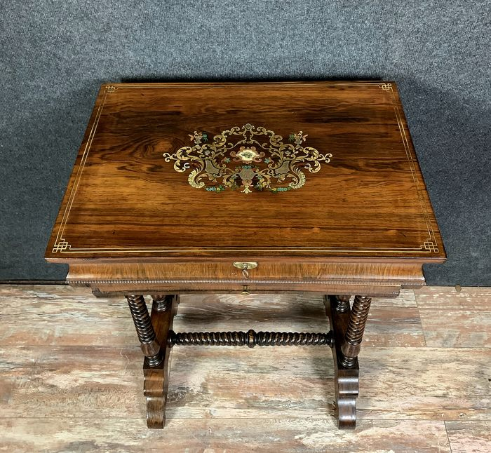 table in rosewood and brass marquetry inlaid - Wood - mid 19th century