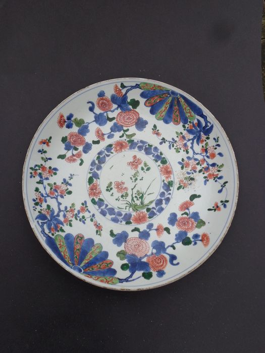 Plate (1) - Chinese export, Distant Dish - Porcelain - Flowers - China - 17th century