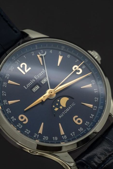 Louis Erard - Automatic 1931 Moon Phase - Day/Date/Month Blue Swiss Made - 31218AA15.BDC37 - Herren - Brand New