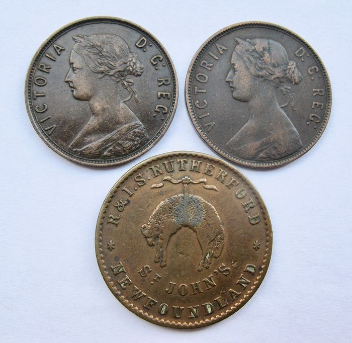 Canada, New Foundland - Cent 1876 and 1896 + Halfpenny token Rutherford nd (1840) - Victoria
