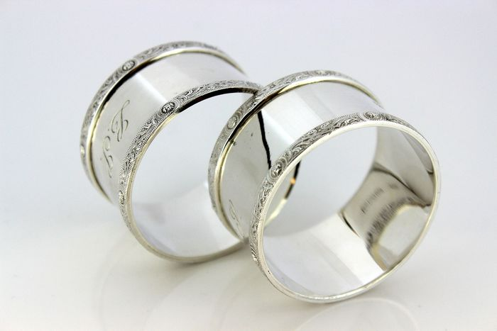 Pair of vintage napkin rings - .925 silver - RH, Dublin - Ireland - 1971