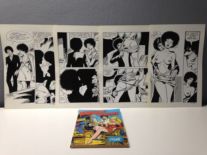 "EP Risate n.39 - 4x tavole originali""Barbiere di Notte"" + Fumetto - Loose page - First edition - (1977)"