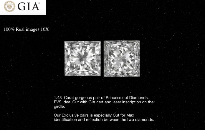 2 pcs Diamants - 1.43 ct - Princesse - E - VS1