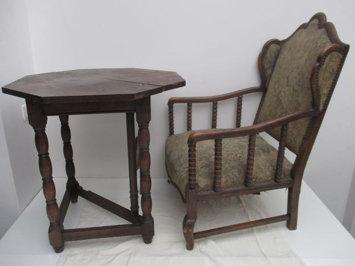 Armchair, Table, Wing chair and bobbin turned (2)