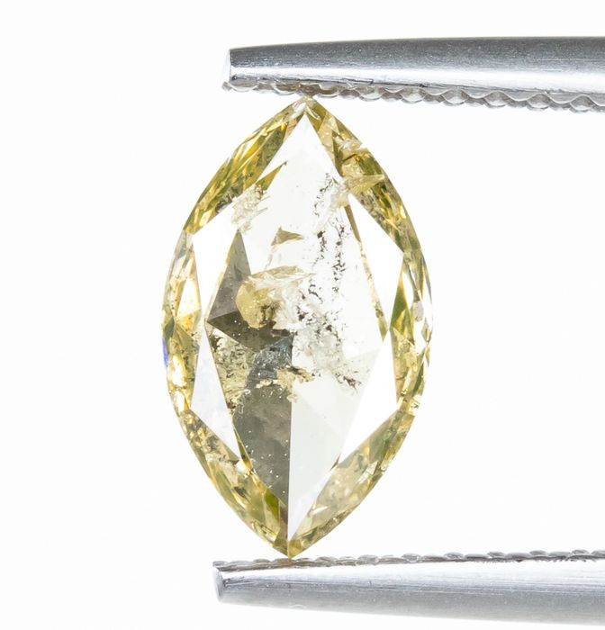 Diamant - 1.04 ct - Natural Fancy Light Yellow - I1  *NO RESERVE*