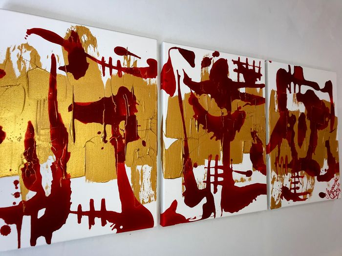 Margarita Bonke - Triptych Gold and Red