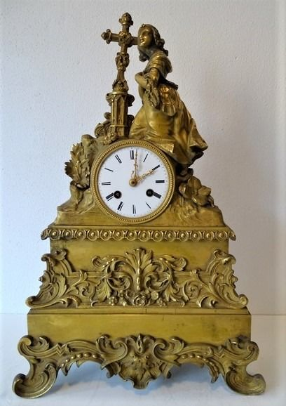 Chimney Pendule - Bronze (gilt/silvered/patinated/cold painted) - mid 19th century
