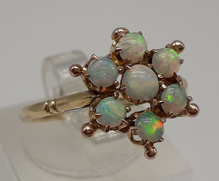 Solid Natural Fiery Opal (0.70ct) - 9K Or jaune - Bague