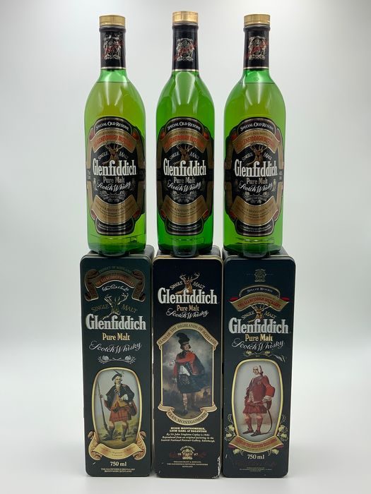 Glenfiddich Clans Of The Scottish Highlands - Cameron - Montgomerie - Stewart - Original bottling - 75cl - 70cl - 3 bottiglie