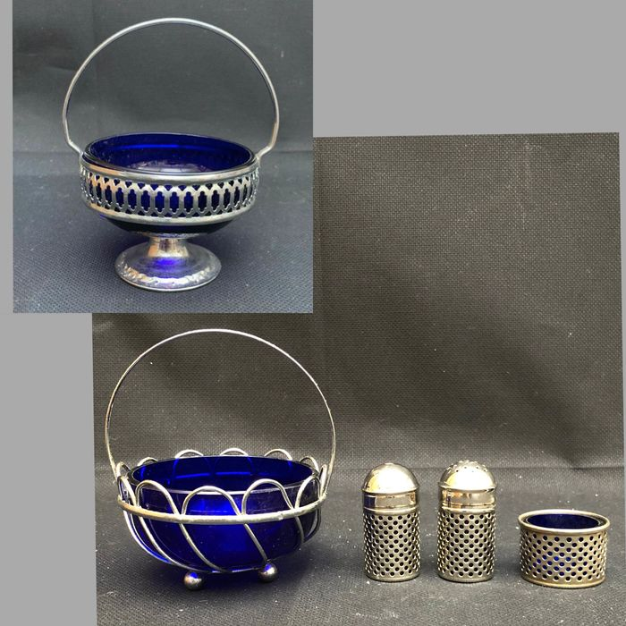 Basket, Sugar Pots/Cruets (5) - Blue Glass and Chrome Plate