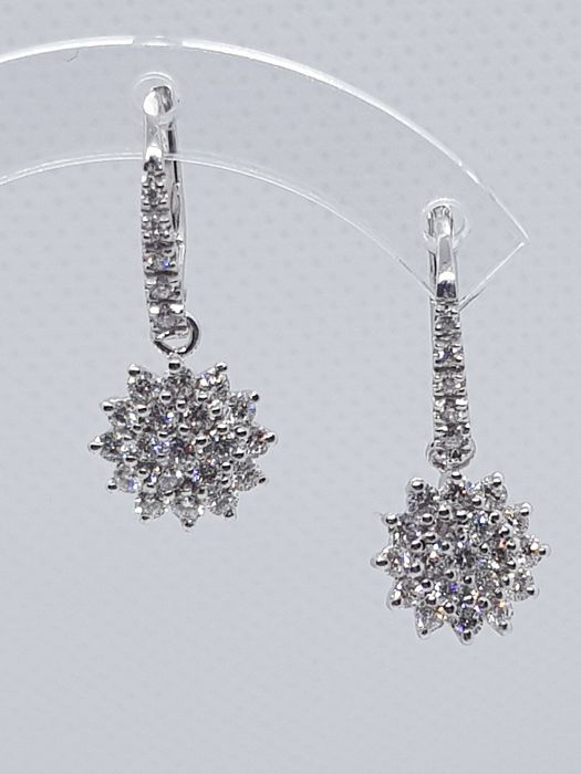 18 kt. White gold - Earrings - 1.31 ct Diamond