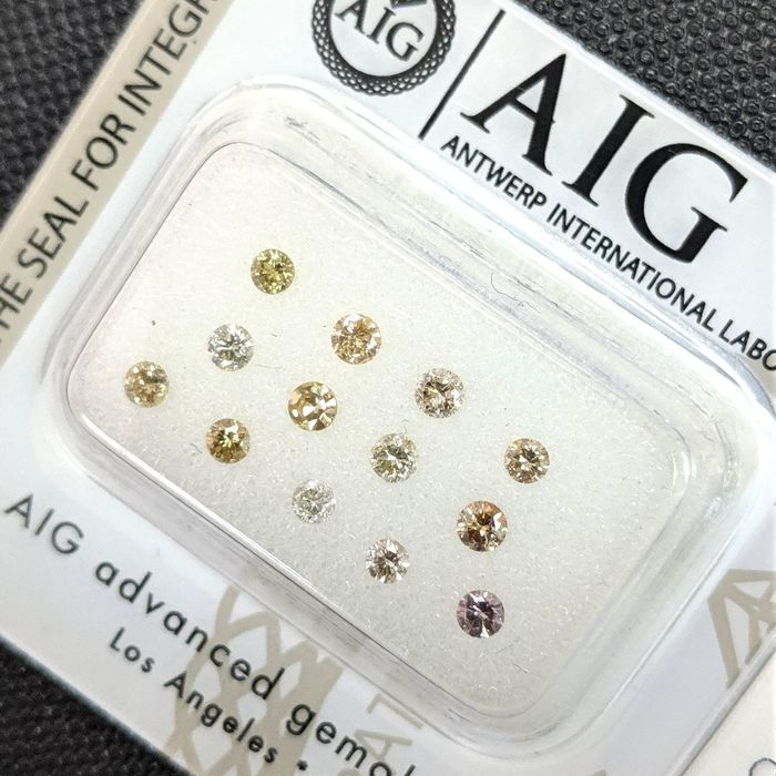 13 pcs Diamants - 0.53 ct - Brillant - Fancy Mix Colors  - SI1, SI2, VS1, VS2, VVS2, No Reserve Price