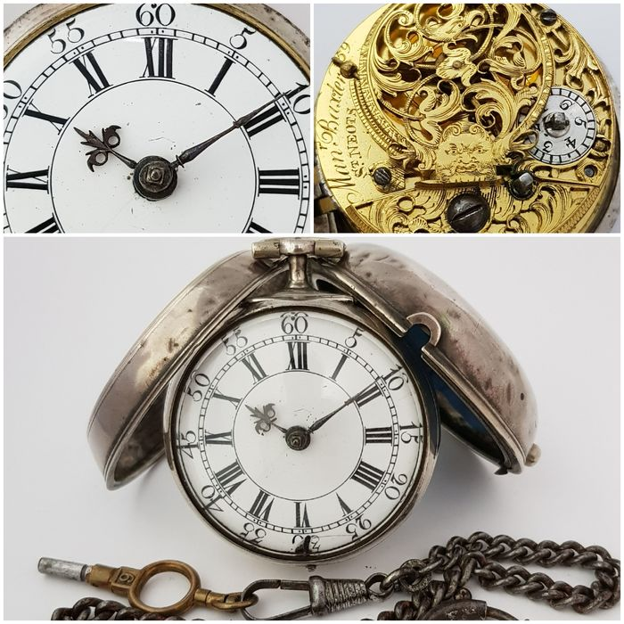 1700`s - Man Baxter ST. Neots -  Verge Fusee - Pair Case Silver Pocket Watch - Férfi - 1850 előtti