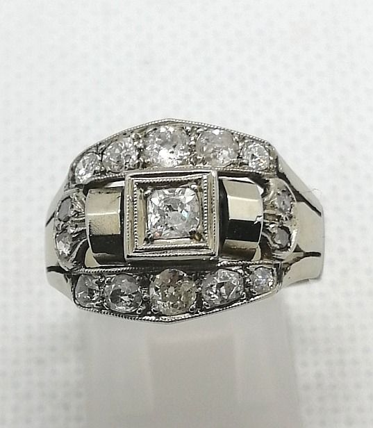 14 kt. White gold - Ring - 0.18 ct Diamond