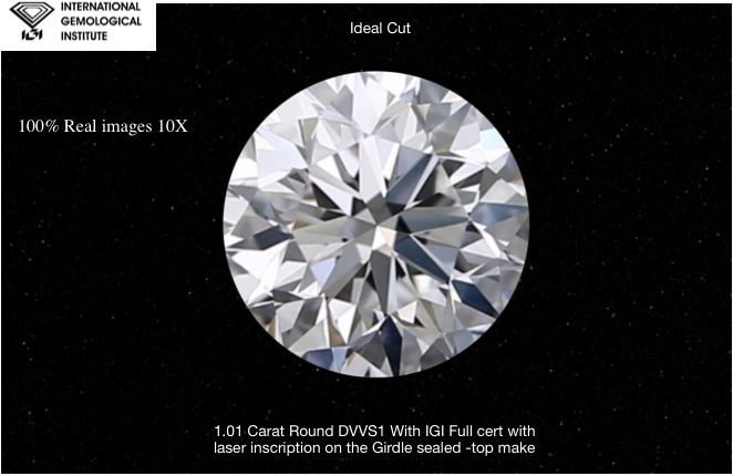 1 pcs Diamonds - 1.01 ct - Brilliant - D (colourless) - VVS1