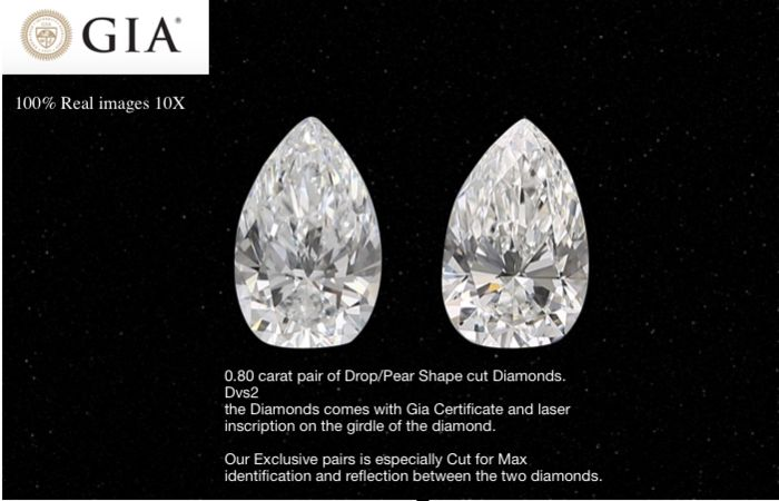 2 pcs Diamanten - 0.80 ct - Peer - D (kleurloos) - VS2