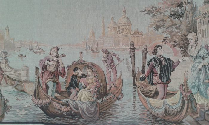 """Tapestry, """"Venice"""" (Gobelins-France) - Renaissance Style - Cotton, Wool - Early 20th century"""