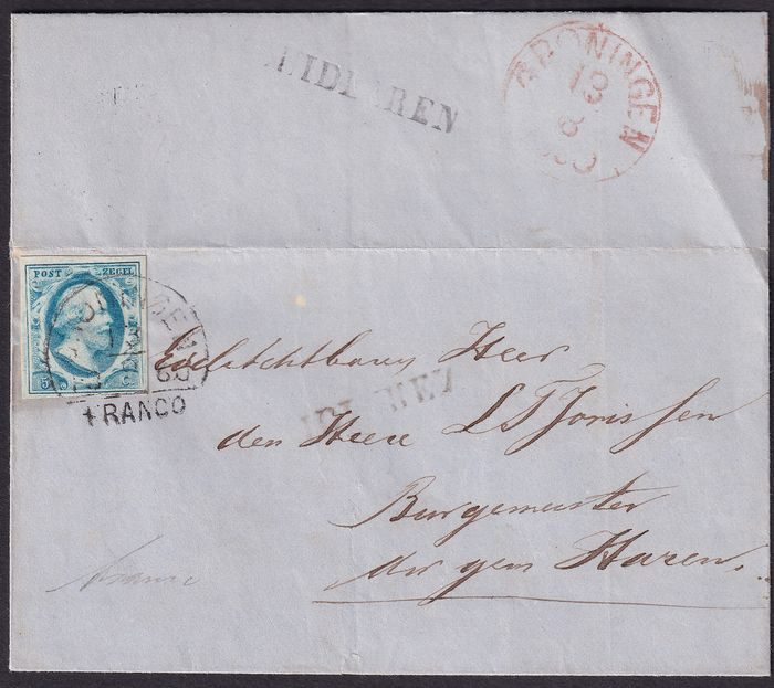 Países Bajos 1860 - Letter with name cancellation Midlaren, sent to Groningen