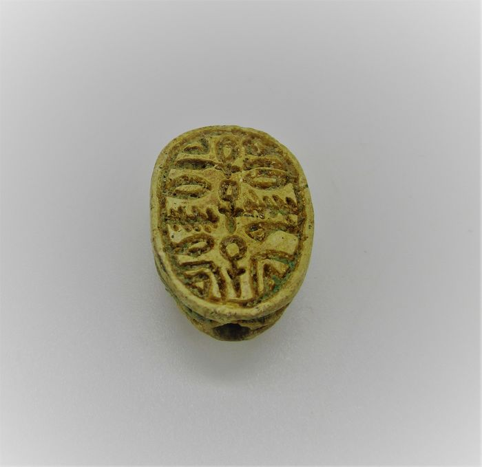 Ancient Egyptian Faience scarab bead seal with Wishes for a good Life hieroglyphics (Anch - Nefer)