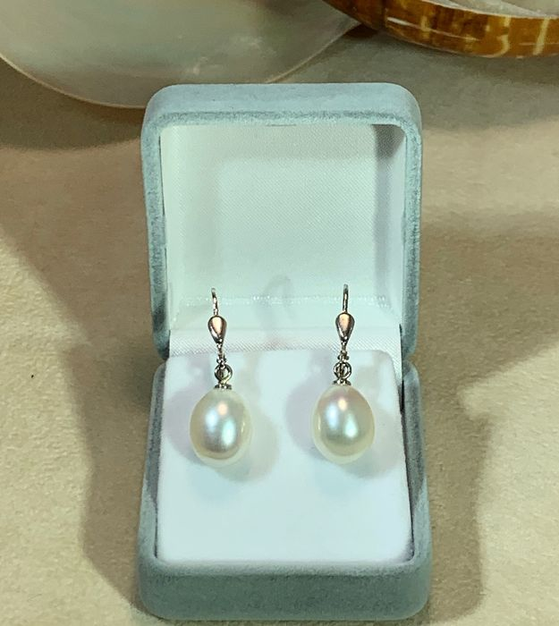 18 kt. Silver, South sea pearls, Drop 10-13m  #No Reserve Price# - Earrings