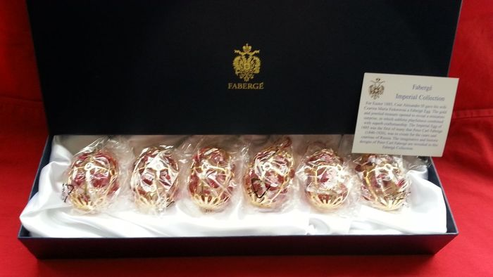 Fabergé, imperial collection - 6 kerst ballen - 24 krt verguld goud, red ruby cristal, coa