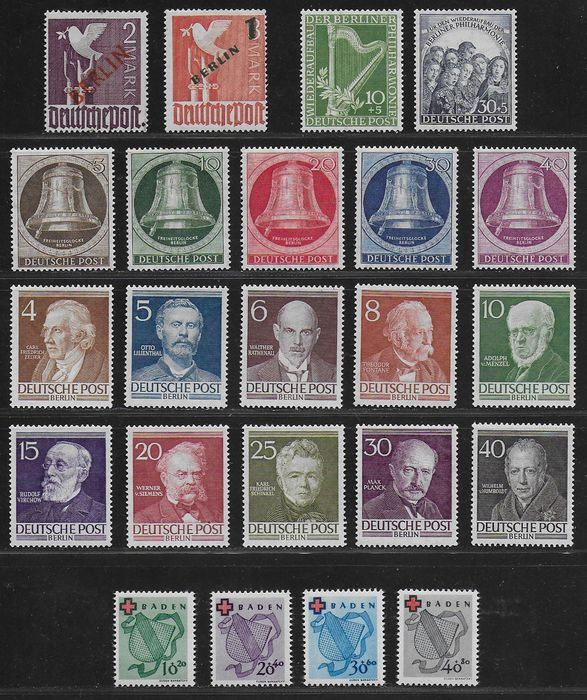 Berlin 1949/1952 - Selection early sets and singles - Michel 34, 67, 72 / 73, 75 / 79, 91 / 100 and 42 / 45 A