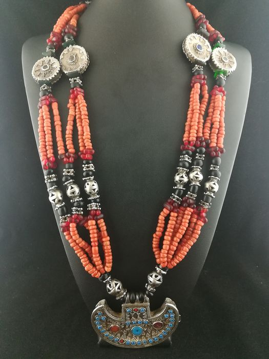 Necklace (1) - Coral, Silver, Turquoise - Turkmenistan