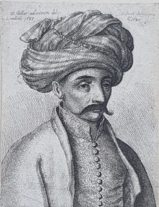 Wenceslaus Hollar (1607-1677), after Francis Place (1647-1728) - Man in oriental dress with turban, from life