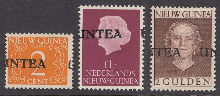 Netherlands New Guinea 1962 - Three stamps with strongly shifted UNTEA overprint
