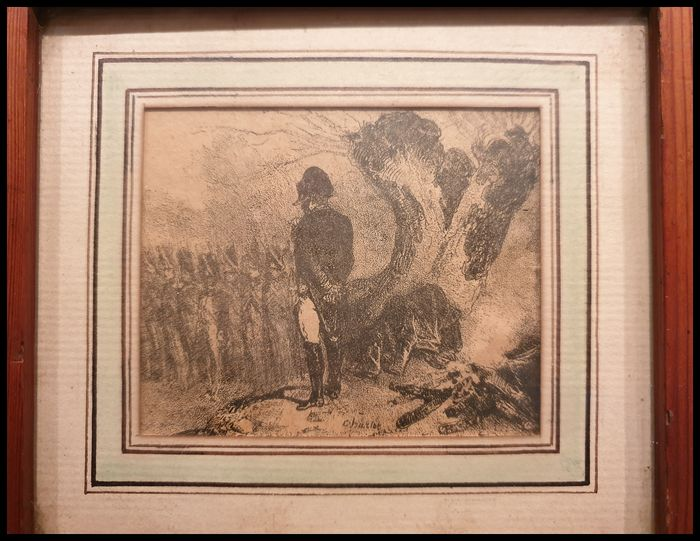 """Louis Charlot - Miniature painting """"Napoleon Facing these Soldiers"""" (1) - Wood"""