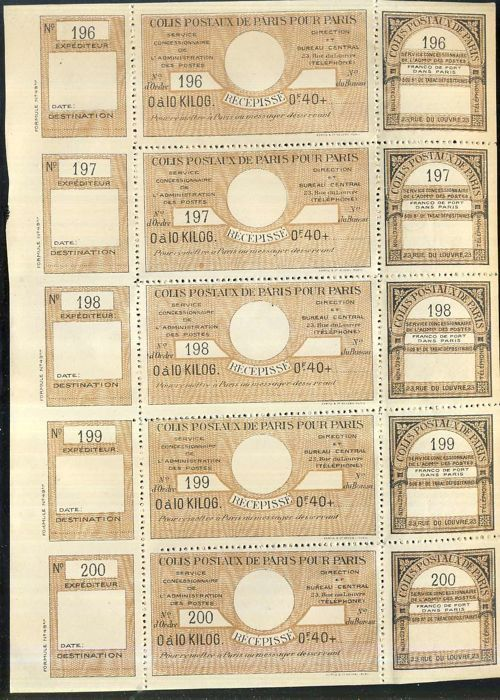 Frankreich - 1919/1939 - small parcel post stamps from Paris to Paris, 6 complete panes, Maury: 48,69,90,132,151