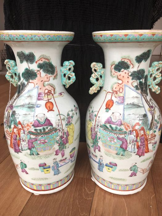 Vases (2) - Porcelain - Chinese porcelain vase - China - 19th century