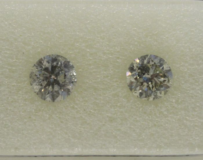 2 pcs Diamant - 0.89 ct - Brillant, Rund - G, H - SI2