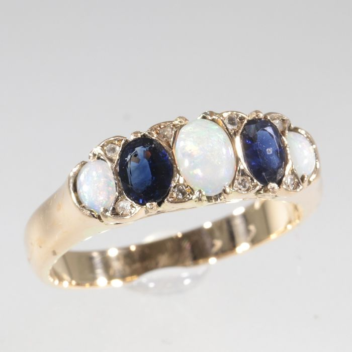 No Reserve Price - 18 kt. -  Pink gold - Ring, Antique - Anno: 1900 - Set with  Opal - Diamond, Sapphires, Free resizing!*