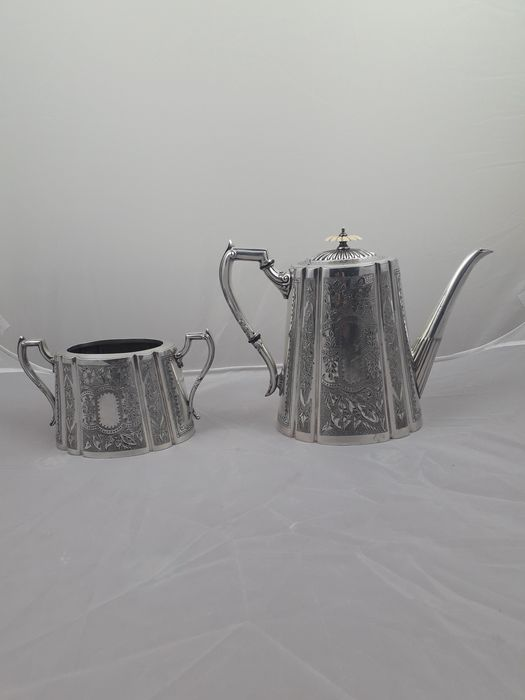 epbm - coffe pot and bowl sugar (2) - Silverplate