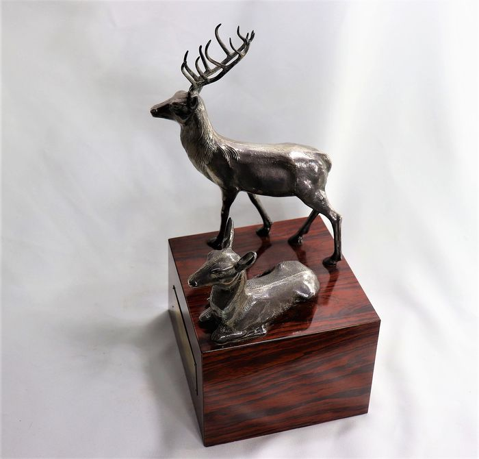 hunting trophy deer and gazelle (1) - shot in silver and wood