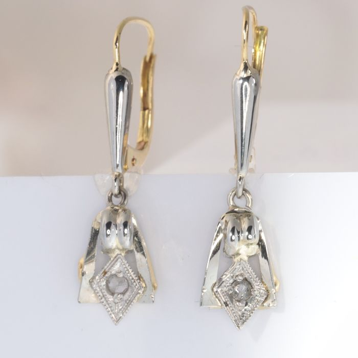 18 kt. White gold, Yellow gold - Earrings, Art Deco, short hanging, Anno 1920 - Diamond - NO RESERVE PRICE