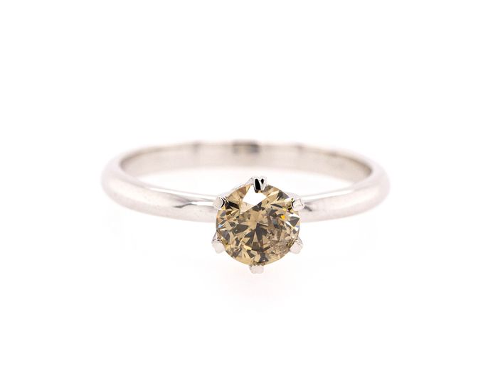 14 karat Hvitt gull - Ring - 0.80 ct Diamant - Fancy Brownish Yellow - SI2 - Ingen reservepris