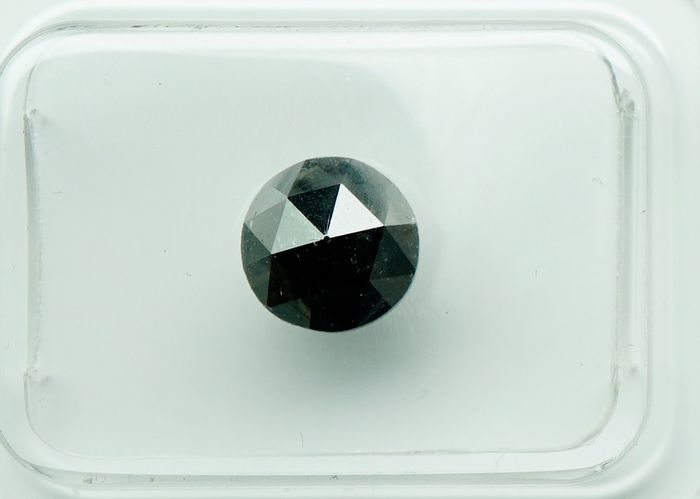 1 pcs Diamant - 1.35 ct - Ronde, variatie - fancy black - No Reserve