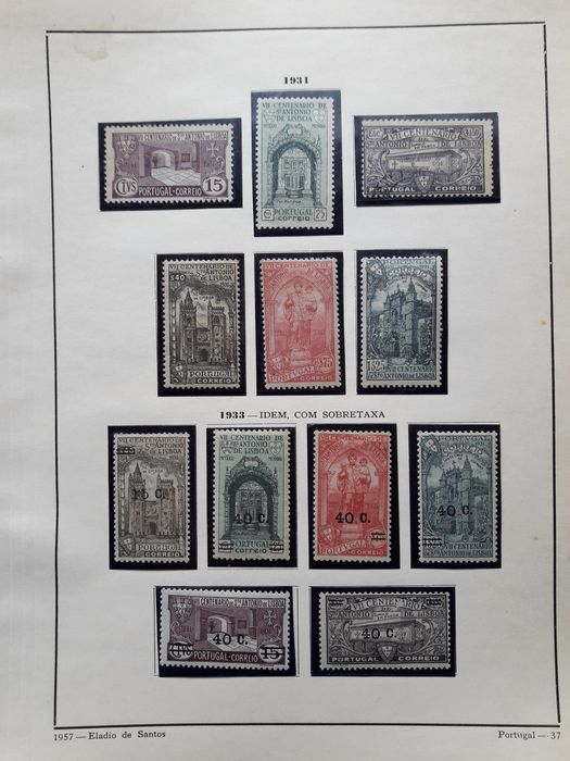 Portugal 1931/1933 - Death St. Anthony and D.Nuno Alvares with and without overcharge - Mundifil