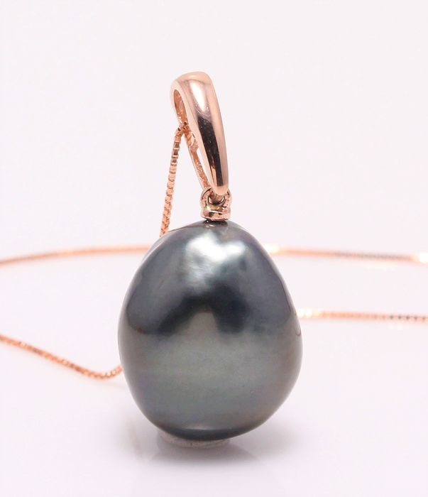 NO RESERVE PRICE - 18 kt. Rose Gold -14mm Tahitian Pearl Drop - Necklace with pendant