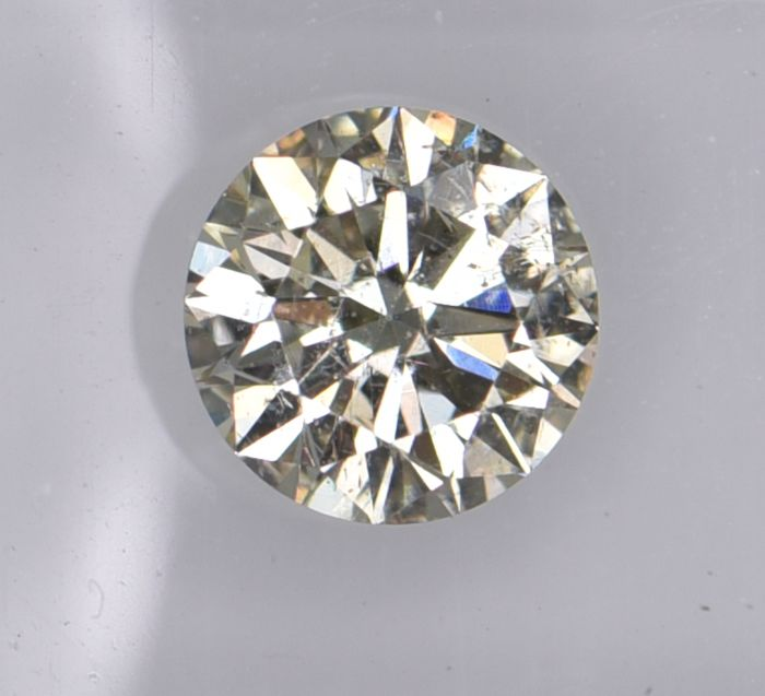 1 pcs Diamant - 0.61 ct - Rund - light yellow - SI2, No Reserve Price!