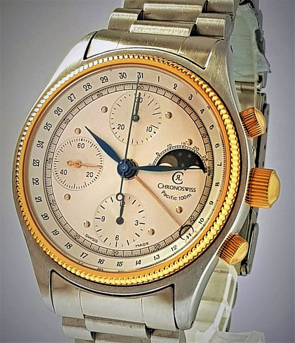 Chronoswiss - NO RESERVE Pacific 18K/SS Automatic Chronograph Moonphase - FULL SET   - Heren - 2000-2010