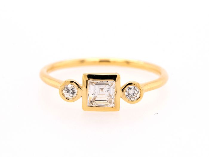 14 kt. Yellow gold - Ring - 0.55 ct Diamond - F - SI1 - No Reserve Price